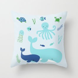 Blue Nautical Under The Sea Animals Throw Pillow
