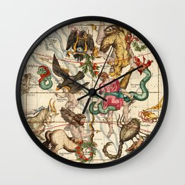 Hercules, Sagittarius, Delphinus, Scorpius, Caper, Lyra, Olor And Other Constellations Wall Clock