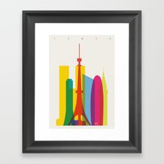 Shapes of Tokyo. Accurate to scale. Framed Art Print