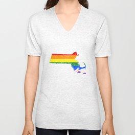 LGBT T-Shirt Massachusetts LGBT Gay Pride Flag Shirt Gift Unisex V-Neck