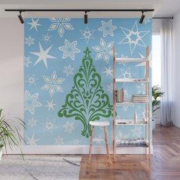 Retro Tree and Snowflakes Wall Mural