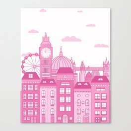 London Skyline Pink Canvas Print