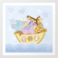 Noah's Ark (Blue) Art Print