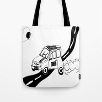 1975 Tote Bags featuring COCHE 1975 by Pelotica Monroe