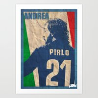 pirlo Art Prints featuring andrea pirlo by John Sideris