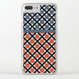 Plaid patchwork 1 Clear iPhone Case