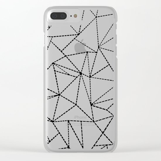 Abstract Dotted Lines Black and White Clear iPhone Case