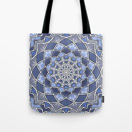 12-Fold Mandala Flower in Blue Tote Bag
