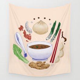 Dumpling Diagram Wall Tapestry