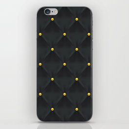 Abstract black quilted pattern with gold dots iPhone Skin