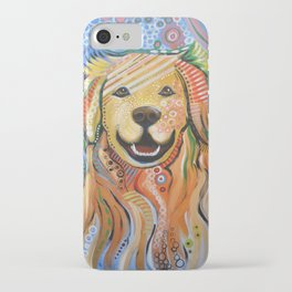 Max ... Abstract dog art, Golden Retriever, Original animal painting iPhone Case