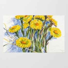 Yellow spring flowers-coltsfoot (watercolor on textured background) Rug