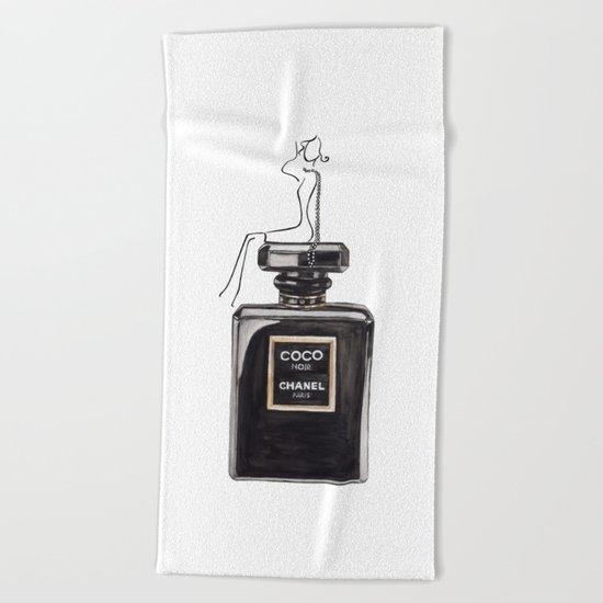 Black Parfum Beach Towel