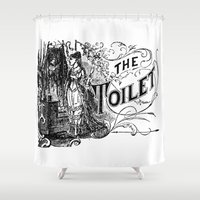 toilet Shower Curtains featuring The Toilet by Bramble & Posy