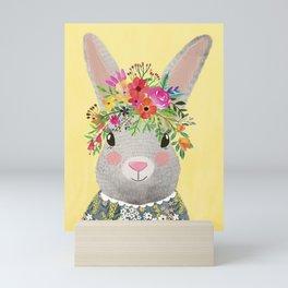 Rabbit with floral crown Mini Art Print