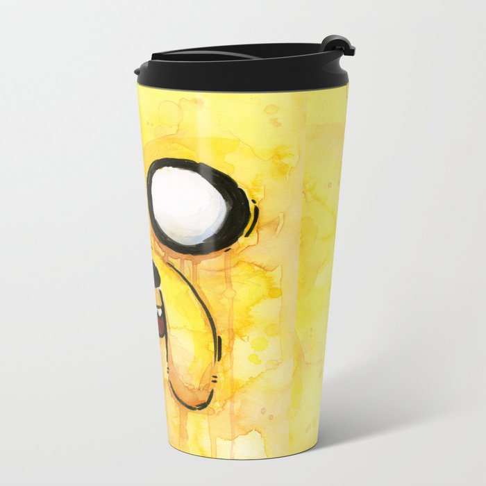 Jake Face Yellow Dog Cartoon Character Metal Travel Mug