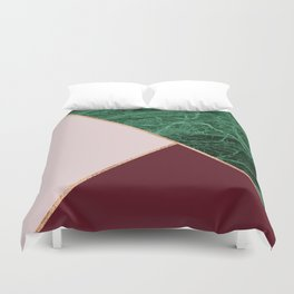 Green Marble with burgundy Duvet Cover