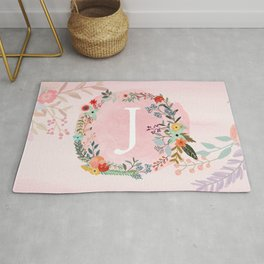 Flower Wreath with Personalized Monogram Initial Letter J on Pink Watercolor Paper Texture Artwork Rug