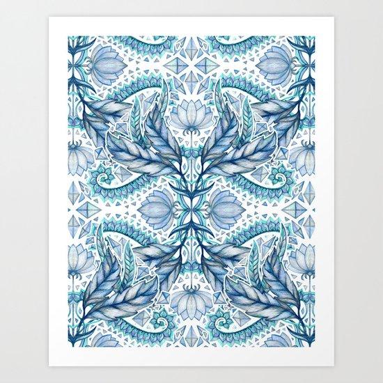 Lily, Leaf & Triangle Pattern – blues Art Print