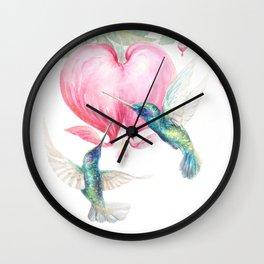 Bleeding Heart - watercolor hummingbirds and bleeding hearts Wall Clock