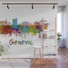 Geneva skyline in watercolor Wall Mural