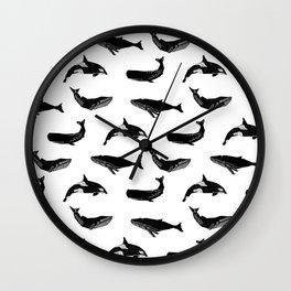 Whales orcas sperm whale species ocean pattern art linocut nature animals Wall Clock