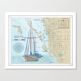 Sarasota and Siesta Key Nautical Area Map Canvas Print