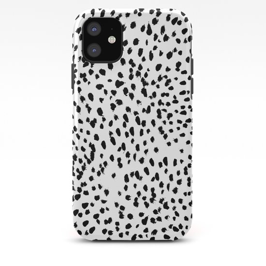 Nadia - Black and White, Animal Print, Dalmatian Spot, Spots, Dots, BW by charlottewinter
