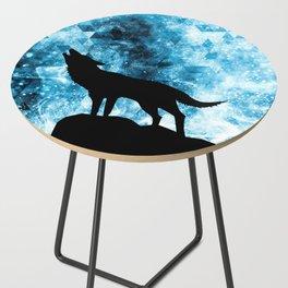 Howling Winter Wolf snowy blue smoke Side Table
