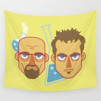 jesse pinkman Wall Tapestries featuring  Mr White And Jesse Pinkman / Breaking Bad  by HypersVE