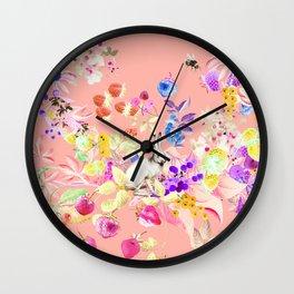 Soft bunnies pink Wall Clock