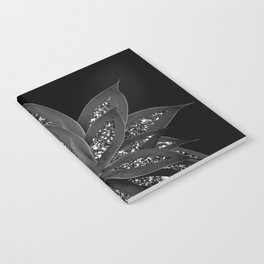 Gray Black Agave with Black Silver Glitter #2 #shiny #tropical #decor #art #society6 Notebook
