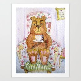Hazel, tea time bear Art Print