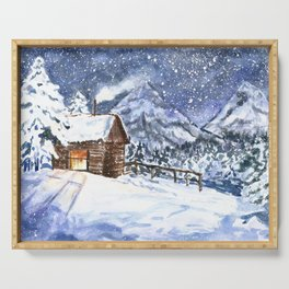 Little wooden house in winter forest Serving Tray