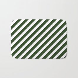 Large Dark Forest Green and White Candy Cane Stripes Bath Mat