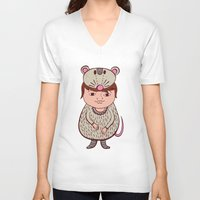 mouse V-neck T-shirts featuring Mouse by Carmen Sarrion