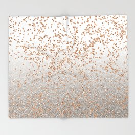 Glitter sparkle mix - rose gold & silver Throw Blanket