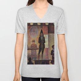 La parade du cirque by Georges Seurat Unisex V-Neck