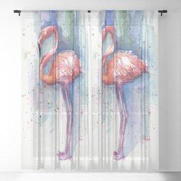 Pink Flamingo Watercolor Tropical Animals Birds Sheer Curtain
