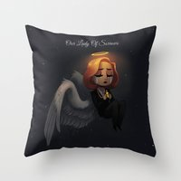 dana scully Throw Pillows featuring Scully - Our Lady Of Sorrows by Sutexii