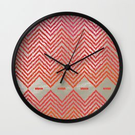 Woven Diamond - Red + Magenta Wall Clock