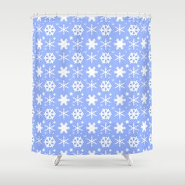 Snowflakes Blue Shower Curtain