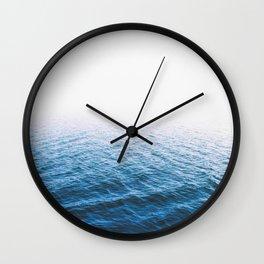 Sea, Ocean, Water, Blue, Modern art, Art, Minimal, Scandinavian, Wall art Print Wall Clock