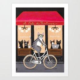 Cats Le Cafe du Printemps Art Print