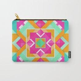 Geometric Tribal Mandala Inspired Modern Trendy Vibrant (Mint Green, Maroon, Wine, Hot Pink, Orange) Carry-All Pouch