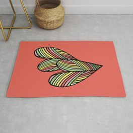 Two Hearts in Coral Rug