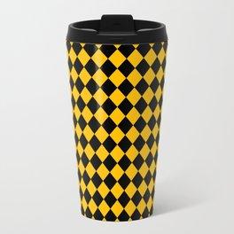 Black and Amber Orange Diamonds Travel Mug