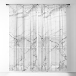 White Marble Stone Sheer Curtain
