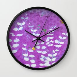 Ferns And Orchid Skies Wall Clock