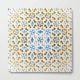oriental pattern - brown, blue, white design Metal Print